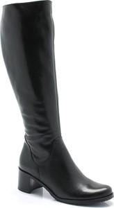 Czarne kozaki Arka przed kolano w stylu casual