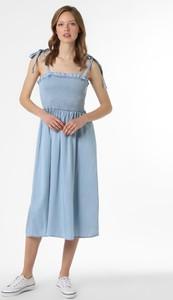 Niebieska sukienka Vila midi z dekoltem w kształcie litery v