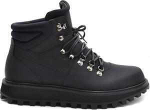 Buty zimowe Dolce & Gabbana sznurowane ze skóry