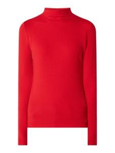 Czerwona bluzka Tommy Hilfiger z długim rękawem z golfem w stylu casual