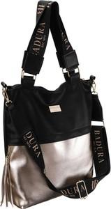 Czarna torebka Badura z frędzlami na ramię duża