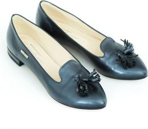 Czarne baleriny Zapato z nubuku w stylu glamour