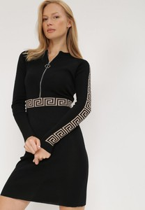 Sukienka born2be z długim rękawem z okrągłym dekoltem mini