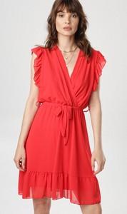 Czerwona sukienka born2be bez rękawów mini