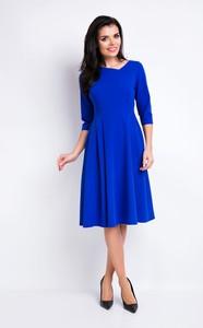 Niebieska sukienka Awama z okrągłym dekoltem z długim rękawem midi