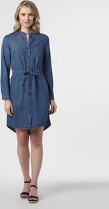 Niebieska sukienka Marc O'Polo DENIM mini z dekoltem w kształcie litery v z długim rękawem