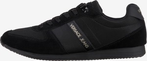 Czarne buty sportowe Versace Jeans ze skóry