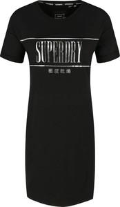 Czarna sukienka Superdry w stylu casual z okrągłym dekoltem mini