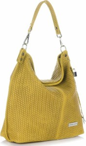 Uniwersalne torebki skórzane typu shopperbag vittoria gotti żółte
