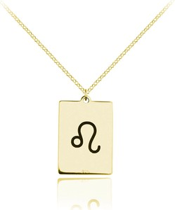Lian Art Naszyjnik srebrny ze znakiem zodiaku - 24k złocenie