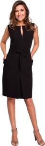 Czarna sukienka Style bez rękawów midi z tkaniny