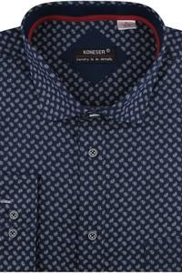 Granatowa koszula Koneser z tkaniny z długim rękawem z włoskim kołnierzykiem
