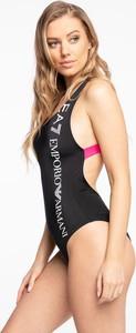Czarny strój kąpielowy Emporio Armani w sportowym stylu