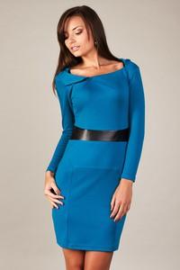 Sukienka sukienki.pl z długim rękawem ze skóry