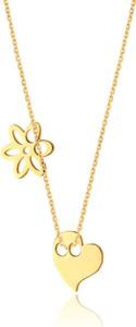Caviallo Srebrny naszyjnik z serduszkiem i kwiatkiem, pozłacany 24k złotem