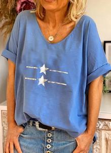 Niebieska bluzka Sandbella z bawełny z krótkim rękawem