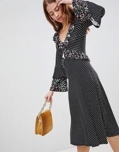Sukienka Asos Design z długim rękawem z dekoltem w kształcie litery v