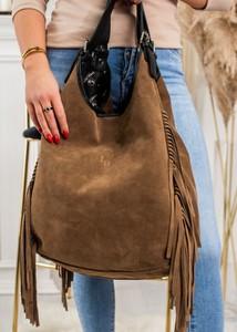 Brązowa torebka Fason ze skóry w wakacyjnym stylu