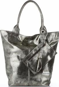 Srebrna torebka VITTORIA GOTTI w stylu glamour z frędzlami duża