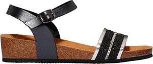 11500973e2e4d Czarne sandały Scholl z klamrami na niskim obcasie w stylu casual