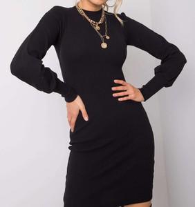 Czarna sukienka Pretty Style z długim rękawem mini z dzianiny