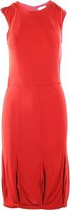 Czerwona sukienka Tory Burch Pre-owned z okrągłym dekoltem midi