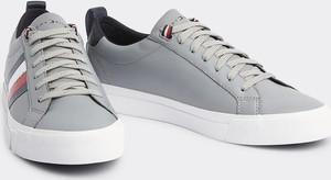 Tommy Hilfiger szare męskie trampki skórzane Flag Detail Leather Sneaker Griffin