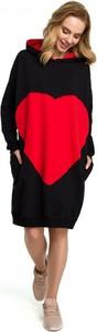 Czarna sukienka MOE mini z bawełny z długim rękawem