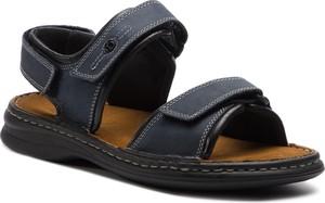 Niebieskie buty letnie męskie Josef Seibel z nubuku na rzepy