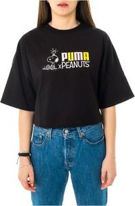 Czarna bluzka Puma z bawełny z krótkim rękawem