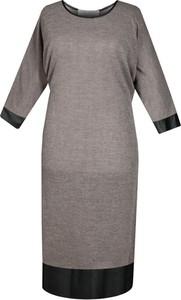 Brązowa sukienka Fokus midi z długim rękawem oversize