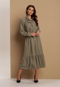 Zielona sukienka Renee midi z długim rękawem