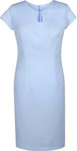 Niebieska sukienka Fokus ołówkowa midi