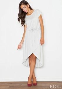 Sukienka Figl z tkaniny z okrągłym dekoltem z krótkim rękawem