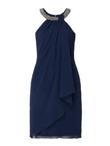 Granatowa sukienka Mascara bez rękawów z okrągłym dekoltem mini