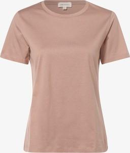Różowy t-shirt ARMEDANGELS z bawełny z krótkim rękawem z okrągłym dekoltem