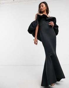Czarna sukienka Asos baskinka z długim rękawem