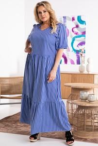Niebieska sukienka KARKO z tkaniny hiszpanka z długim rękawem