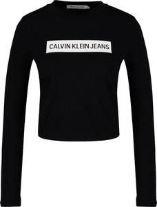 Bluzka Calvin Klein z okrągłym dekoltem z długim rękawem w stylu casual