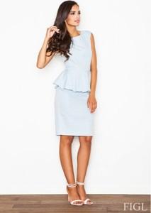 Niebieska sukienka Figl z bawełny ołówkowa z okrągłym dekoltem