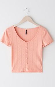 Pomarańczowa bluzka Sinsay z krótkim rękawem