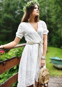 Sukienka Fason z krótkim rękawem z bawełny