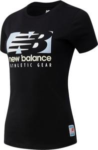 Czarna bluzka New Balance z okrągłym dekoltem z bawełny z krótkim rękawem