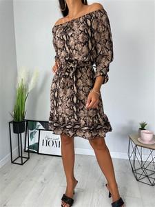 Brązowa sukienka ModnaKiecka.pl mini w stylu casual