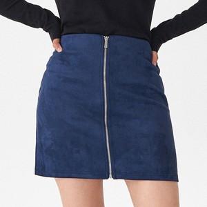 Granatowa spódnica House mini z zamszu
