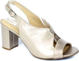 Złote sandały Grodecki z klamrami na obcasie
