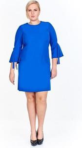 Niebieska sukienka Fokus midi z długim rękawem z okrągłym dekoltem