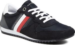 Granatowe buty sportowe Tommy Hilfiger ze skóry ekologicznej sznurowane