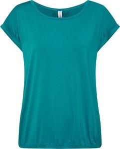 Zielona bluzka Soyaconcept z krótkim rękawem z dżerseju z okrągłym dekoltem