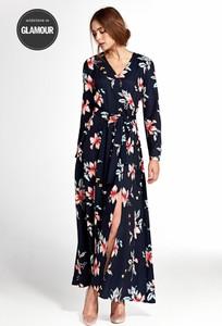 Sukienka Merg maxi kopertowa z dekoltem w kształcie litery v